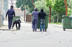Clashes between miners and anti riot police Stock Photo