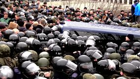 Clashes with the police stock video footage