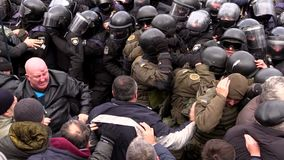 Clashes with the police stock video
