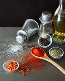 Clashing Spices From Spoon Royalty Free Stock Image
