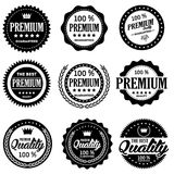 Clasic Retro Badges. Set of classic company retro or old, vintage badges or banners, sign or logotype, labels and stickers with crown and star, ship steering royalty free illustration