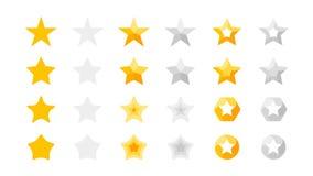 Clasificación de 5 estrellas Colección del vector con los iconos completamente amarillos de la estrella estrellas de oro de esa i Imagen de archivo