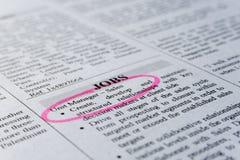 clasified的广告寻找工作 免版税图库摄影