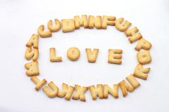 Clasifique las letras en amor de las palabras imagen de archivo libre de regalías