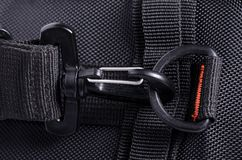 Clasp black bag backpack textile fittings macro stock image