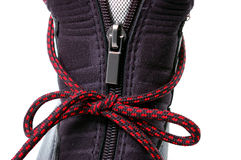 Clasp-zipper on boot. Stock Images