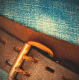 Clasped aged leather belt Stock Photo