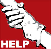 CLASPED HAND FOR HELP Stock Photo