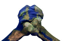 Clasped hands ha modellato con una mappa di Europa (ammobiliata dalla NASA) immagine stock