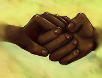 Clasped hands - people with dark skin. Hand drawn pencil sketch of clasped hands of people who love each other. They both have dark skin color, like chocolate Royalty Free Stock Photos