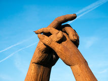 Clasping hands at Gretna Green Stock Images