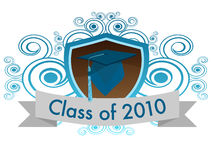 Class of 2010. A shield with a cap and tassel with a banner that reads class of 2010 royalty free illustration