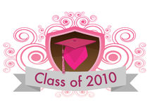 Class of 2010. A shield with a cap and tassel with a banner that reads class of 2010 stock illustration