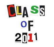 Class of 2011. Written in a mix of colorful cutout letters, ransom note style Royalty Free Stock Photos