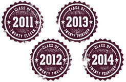 Class of 2011-2014. Worn rubber stamp style icons for graduating classes of 2011-2014 Royalty Free Stock Images