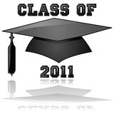 Class of 2011 graduation. Glossy illustration of a hat and the words Class of 2011, reflected on a clear background Royalty Free Stock Photography