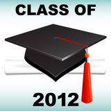 Class of 2012. Graduation cap and diploma celebrating the class of 2012. Available in vector EPS Royalty Free Stock Photo