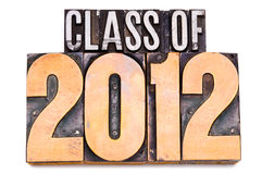 Class of 2012. The phrase Class of 2012 in letterpress type. Narrow focus Stock Photography