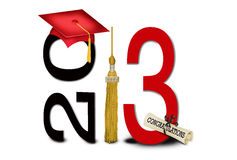 Class of 2013. Red graduation cap with tassel and diploma for class of 2013 Royalty Free Stock Photo