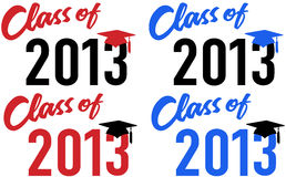 Class of 2013 school graduation date cap. Class of 2013 graduation celebration announcement caps in red and blue school colors vector illustration