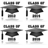 Class of 2013 to 2016. Glossy icon illustration showing a graduation hat and the words Class of for the years 2013, 2014, 2015 and 2016 Stock Images