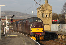 Class 37 diesel locomotives Carnforth, UK Stock Images
