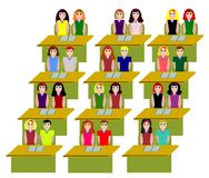 Class. Twentyfour students in a classroom stock illustration