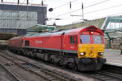 Class 66 freight locomotive at Carlisle. Royalty Free Stock Photo