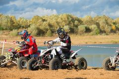 Class ATV Before the race. SERPUKHOV, RUSSIA - OCTOBER 7, 2017:  Before the race, Class ATV, in the 4 stage  MX series, the Red Wings Cup 2017 super country Royalty Free Stock Photo