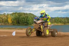 Class ATV, super country-cross. SERPUKHOV, RUSSIA - OCTOBER 7, 2017: Elagin Yan 737,  Class ATV, in the 4 stage  MX series, the Red Wings Cup 2017 super country Royalty Free Stock Photo