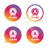 A-class award sign icon. Premium level symbol. A-class award icon. Premium level symbol. Energy efficiency sign. Gradient buttons with flat icon. Speech bubble Stock Photo