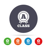A-class award sign icon. Premium level symbol. A-class award icon. Premium level symbol. Energy efficiency sign. Round colourful buttons with flat icons. Vector Stock Image