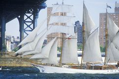 The class B tall ships sailing from Wall Street, Manhattan to the Brooklyn Bridge, New York Royalty Free Stock Photo
