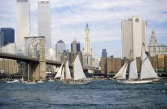 The class B tall ships sailing from Wall Street, Manhattan to the Brooklyn Bridge, New York Royalty Free Stock Photos
