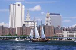 The class B tall ships sailing from Wall Street, Manhattan to the Brooklyn Bridge, New York Stock Photography