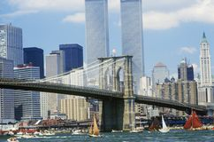The class B tall ships sailing from Wall Street, Manhattan to the Brooklyn Bridge, New York Stock Photo