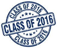 Class of 2016 blue stamp. Class of 2016 blue grunge round stamp isolated on white background Stock Images