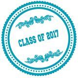 CLASS OF 2017 blue round stamp. Stock Photos