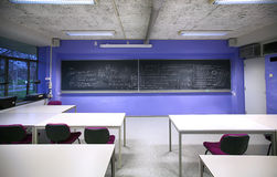 Class room with chalk-board Stock Images