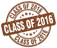 Class of 2016 brown stamp. Class of 2016 brown grunge round stamp isolated on white background Royalty Free Stock Photos