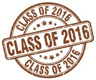 Class of 2016 brown stamp. Class of 2016 brown grunge round stamp isolated on white background Royalty Free Stock Image