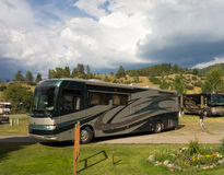 A class a coach backing into a campsite in colorado Stock Photos