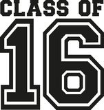 Class of 16 college. University vector Stock Images