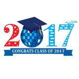 Class of 2017. Congrats Class of 2017 with a discoball in blue Royalty Free Stock Photo