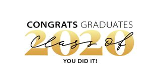 Class of 2020. Congrats Graduates. Modern calligraphy. Lettering logo. Graduate design yearbook. Vector illustration.