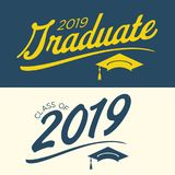Class of 2019 Congratulations Graduate Typography. Class of 2019 Congratulations Grad Typography Stock Images