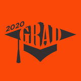 Class of 2020 Congratulations Graduate Typography with Cap. And Tassle Stock Photo