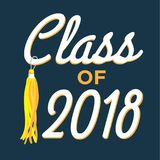Class of 2018 . Congratulations Graduate Typography. Class of 2018 - Congratulations Graduate Typography with tassle and Class of 2018 Royalty Free Stock Photos