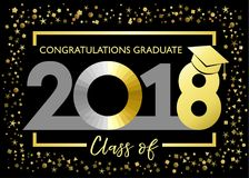 Class of 2018, congratulations graduating golden glitter card. Class of 2018 graduate vector illustration graphics for decoration with gold and silver colored Royalty Free Stock Photo