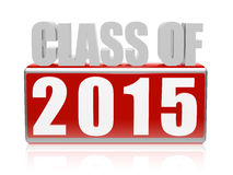 Class of 2015 in 3d letters and block. Class of 2015 text - 3d red and white letters and block, graduate education concept vector illustration